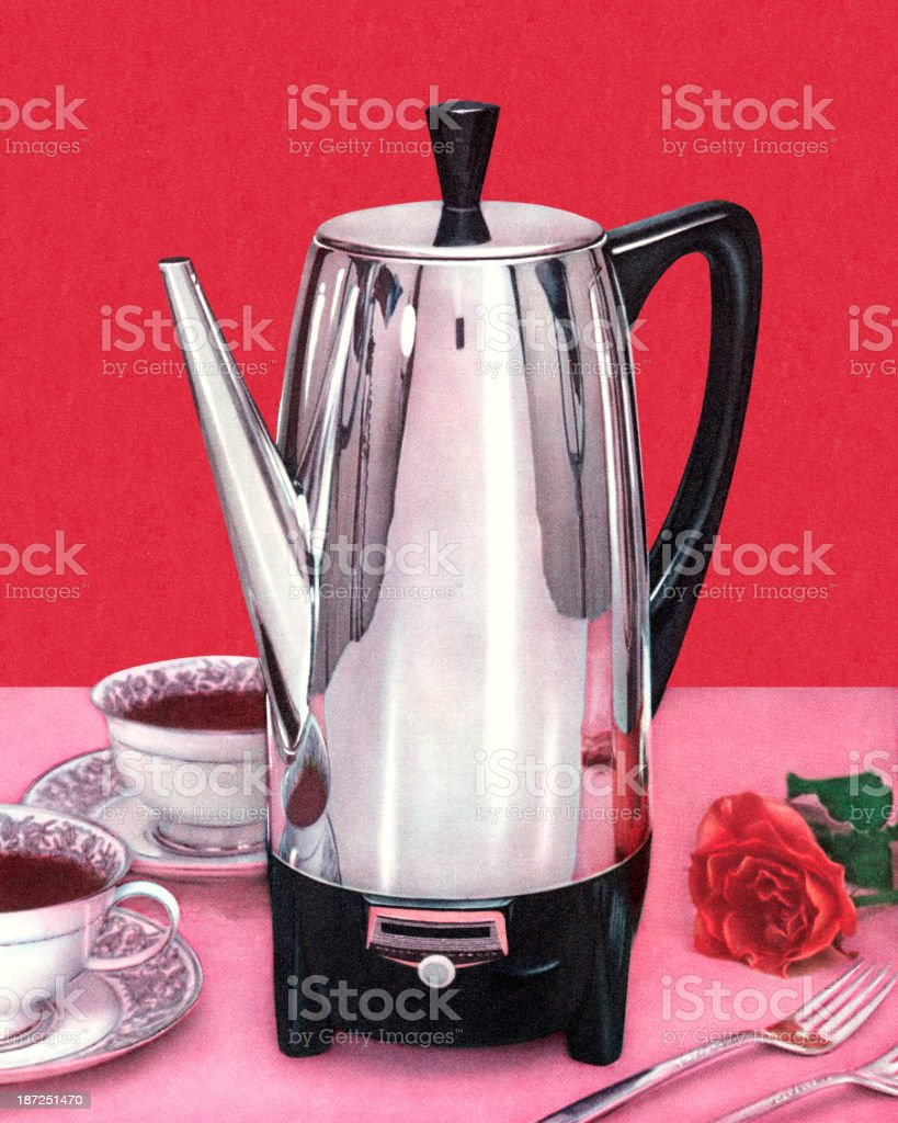 Coffee Percolator and Two Cups royalty-free stock vector art