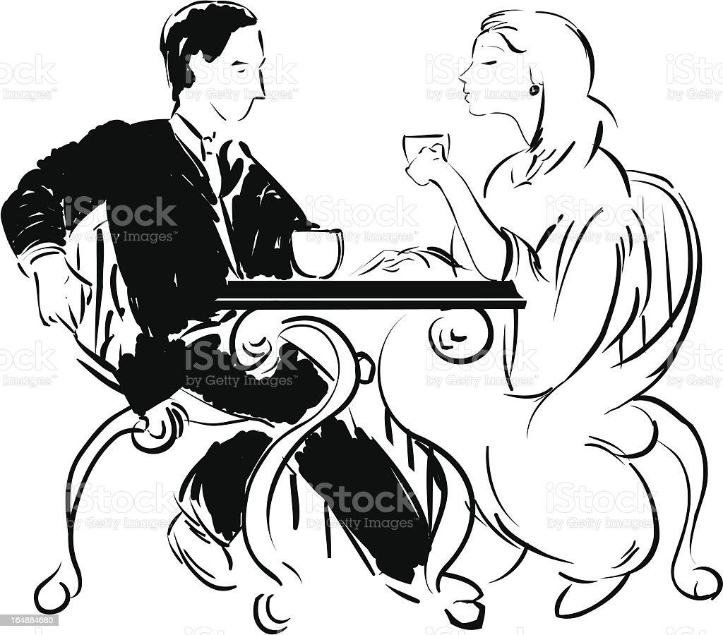 coffee talk table for two royalty-free stock vector art