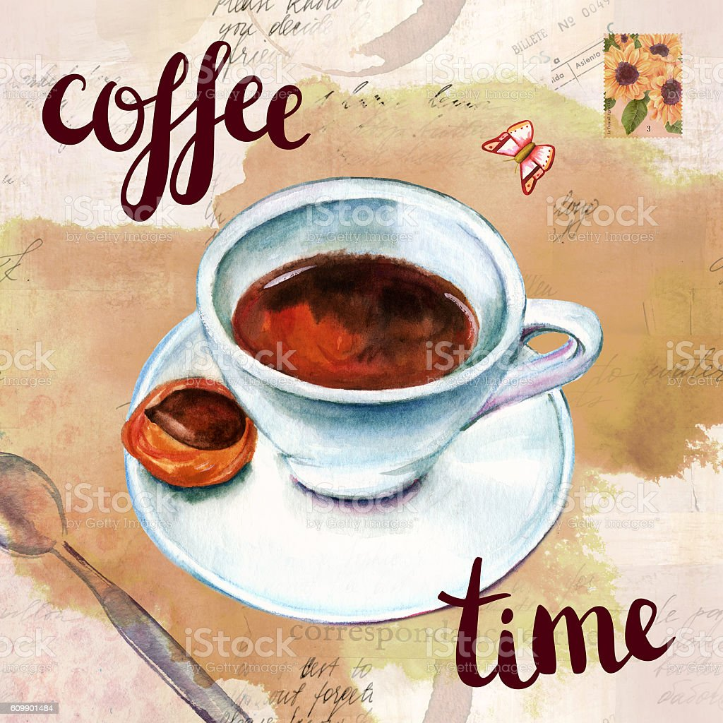 'Coffee time' collage with watercolor drawings and old ephemera vector art illustration