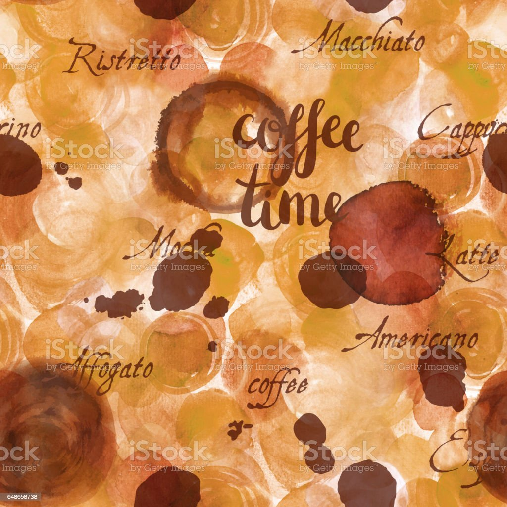 Coffee Time seamless background texture, toned vector art illustration