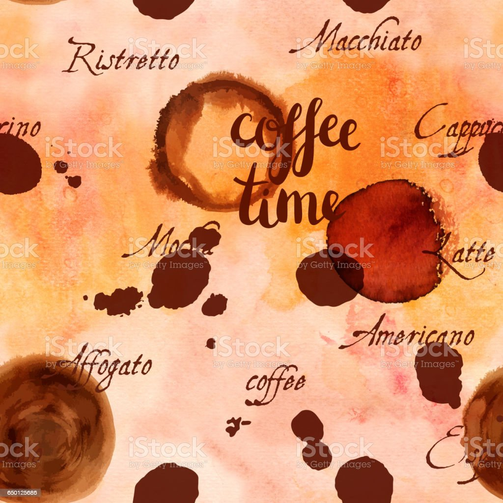 Coffee Time seamless background texture with words and stains vector art illustration