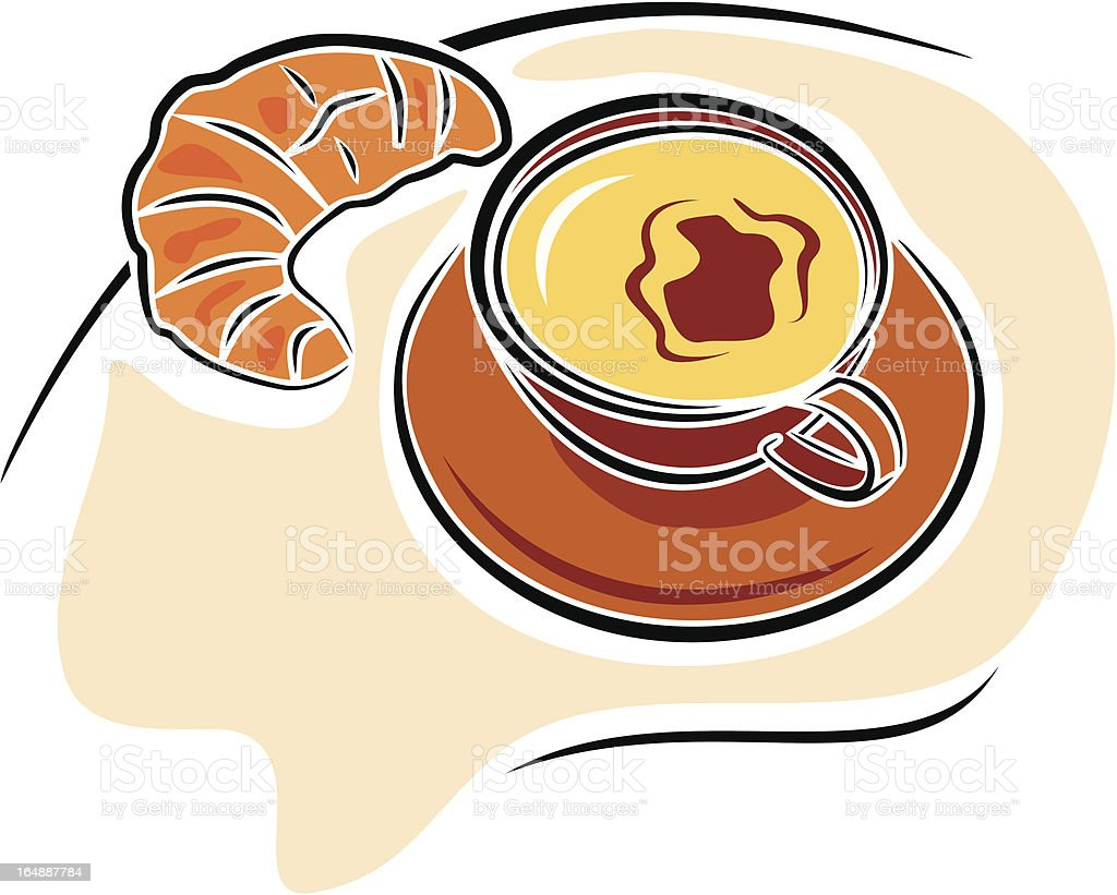 Coffee with Crescent Croissant (Vector) royalty-free stock vector art