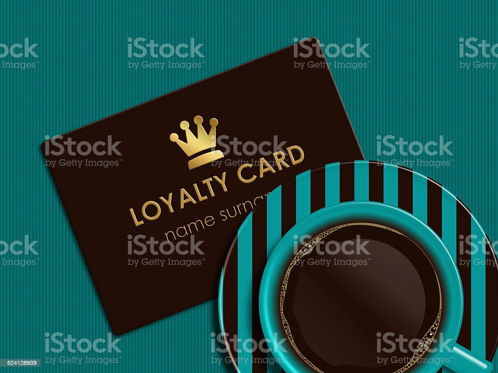 coffee with loyalty card lying on tablecloth vector art illustration