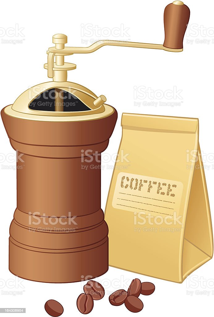 Coffee-grinder with coffee beans royalty-free stock vector art