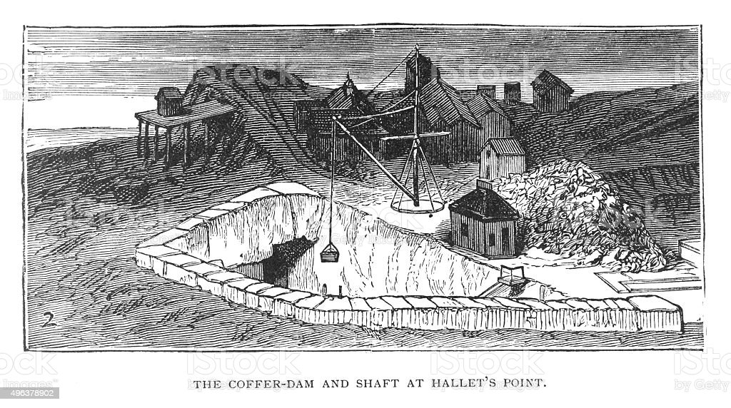 Cofferdam and Shaft at Hallets Point vector art illustration