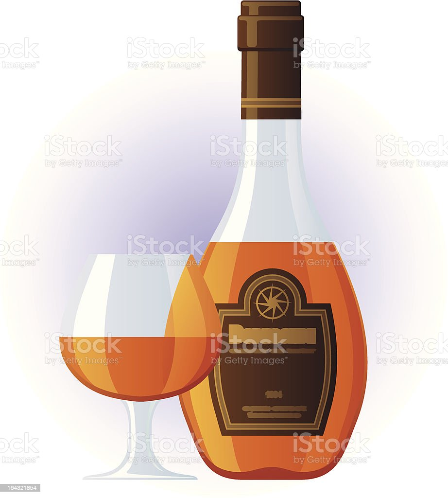 Cognac bottle and glass royalty-free stock vector art