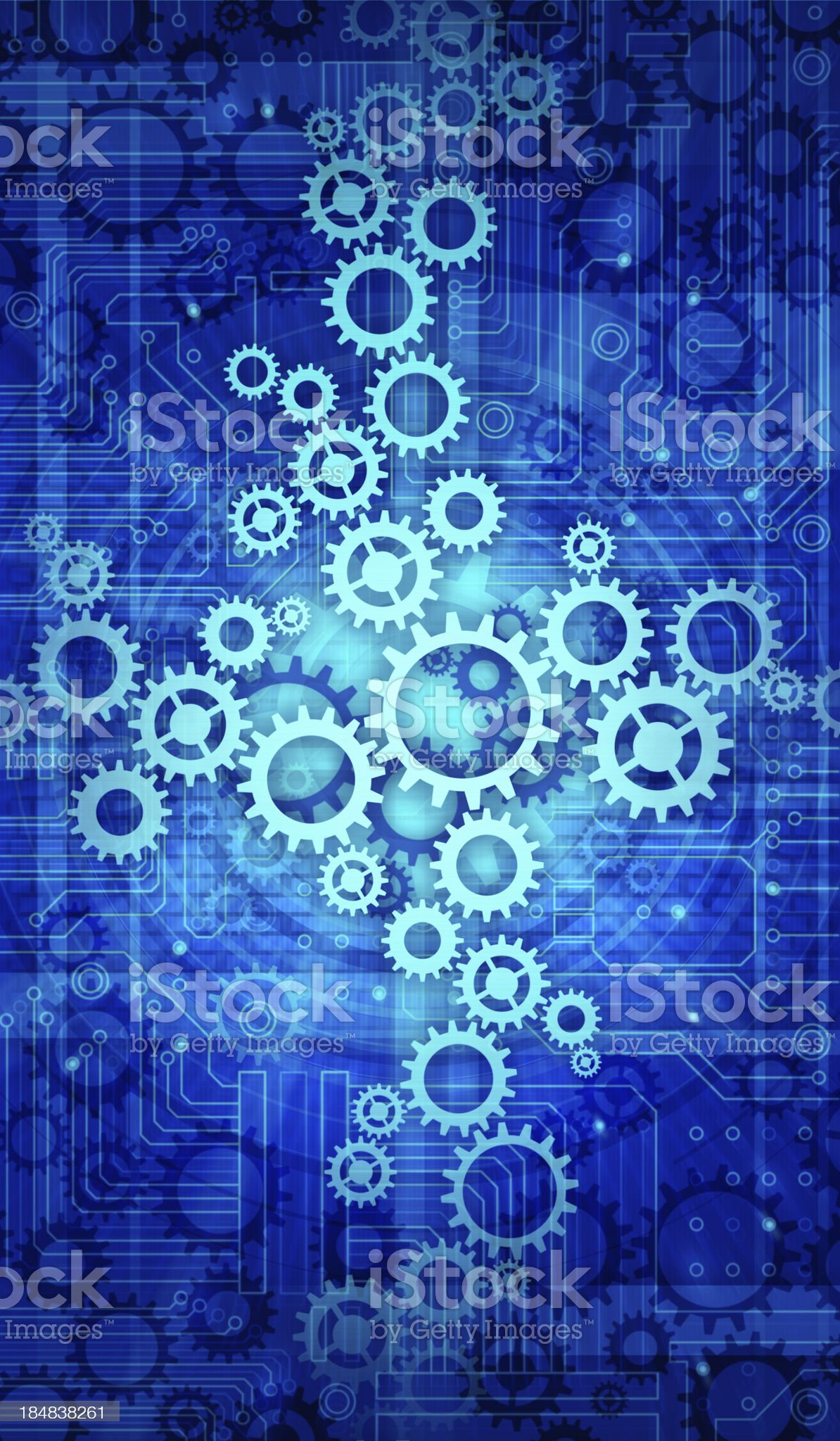 cogs with circuit background royalty-free stock vector art