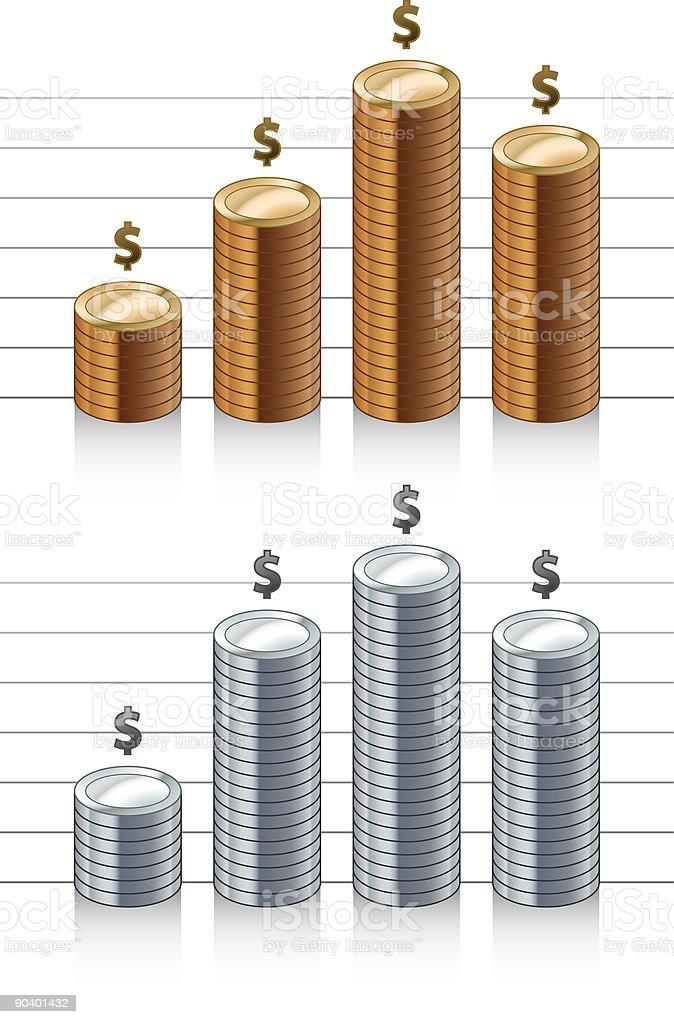 Coin graph bars (vector) royalty-free stock vector art