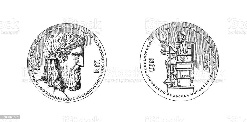 Coin of Hadrian (antique engraving) vector art illustration