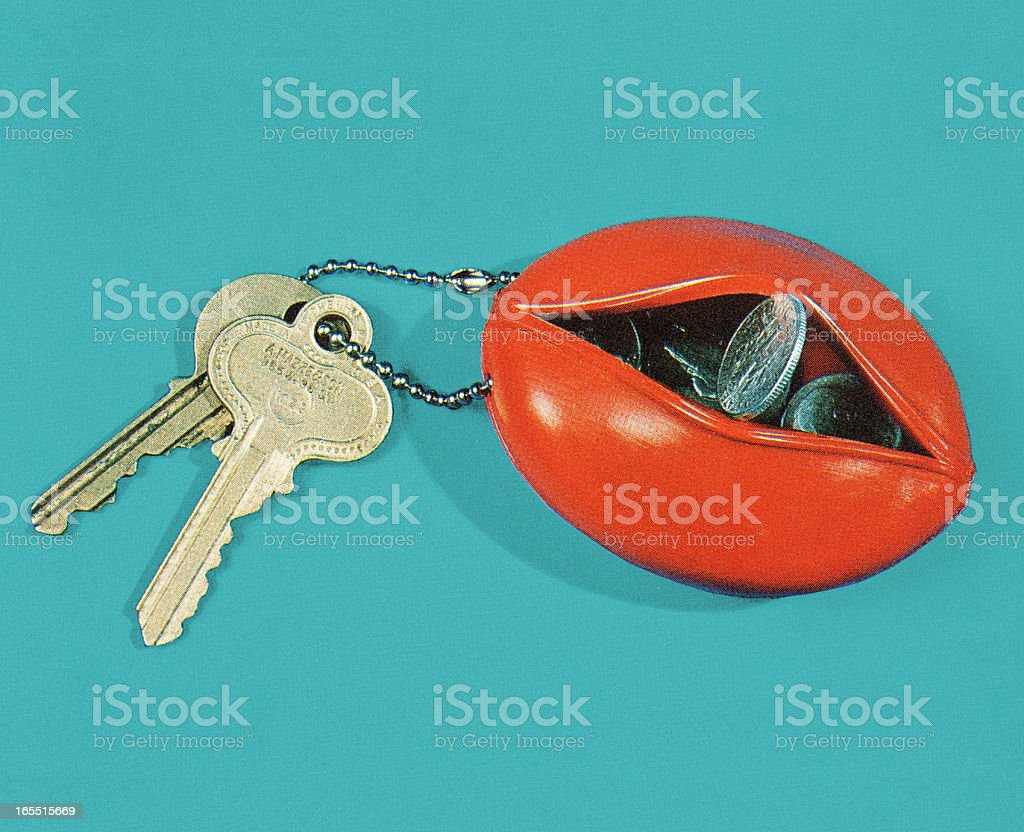 Coin Pouch Keychain and Keys vector art illustration