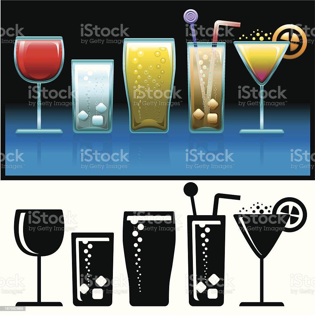 Cold Drinks icon set vector art illustration
