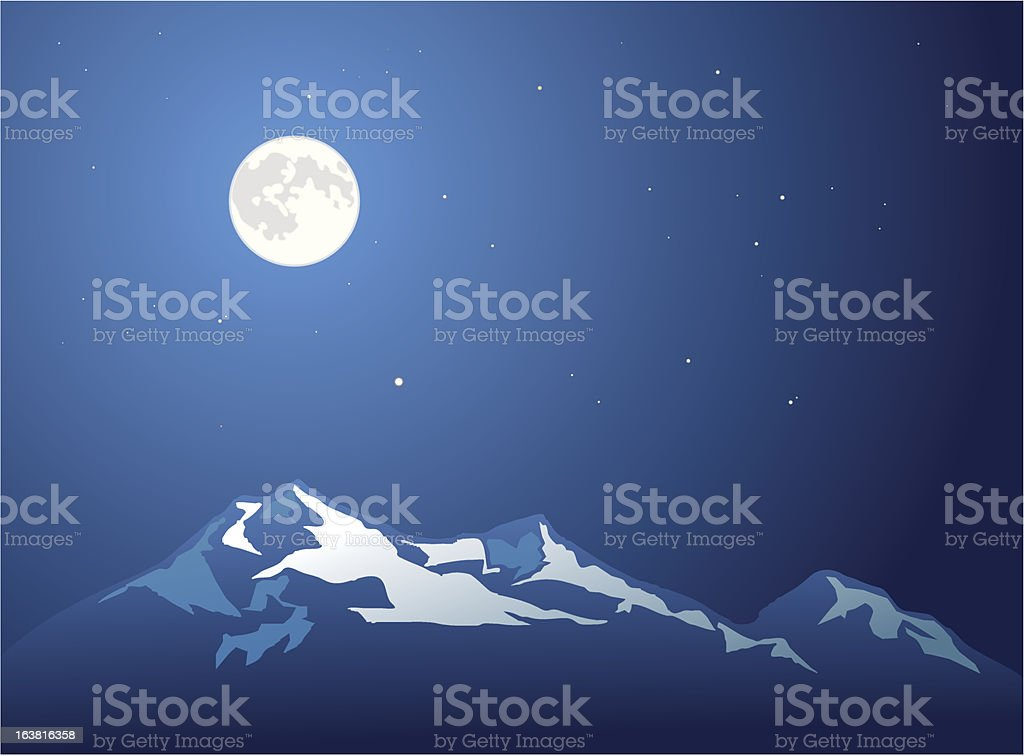 Cold Mountain with Full Moon royalty-free stock vector art