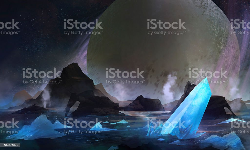 Cold planet vector art illustration