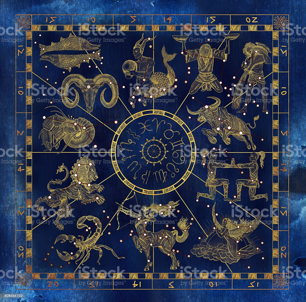 Collage with Zodiac signs and red constellations vector art illustration