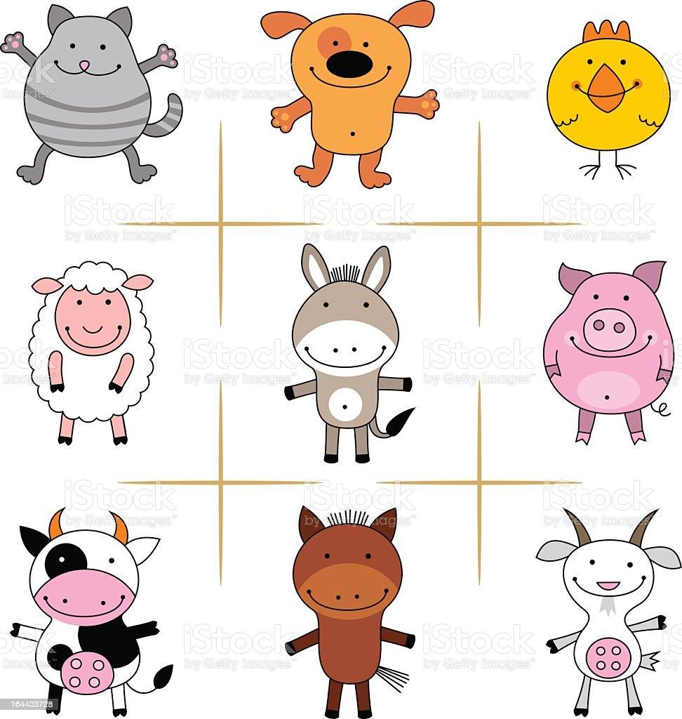 collecion of farm animals vector art illustration