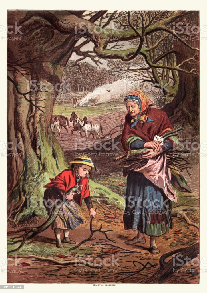 Collecting firewood with Grandma, Victorian 19th Century vector art illustration