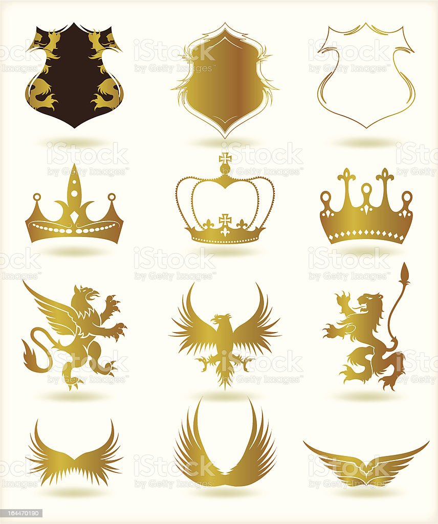 Collection heraldic gold elements. Vector royalty-free stock vector art