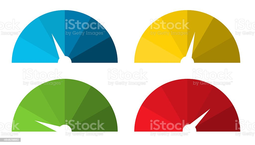 Collection of 4 isolated colorful speedometers vector art illustration