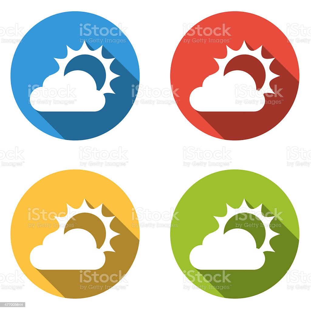 Collection of 4 isolated flat buttons for partly cloudy vector art illustration