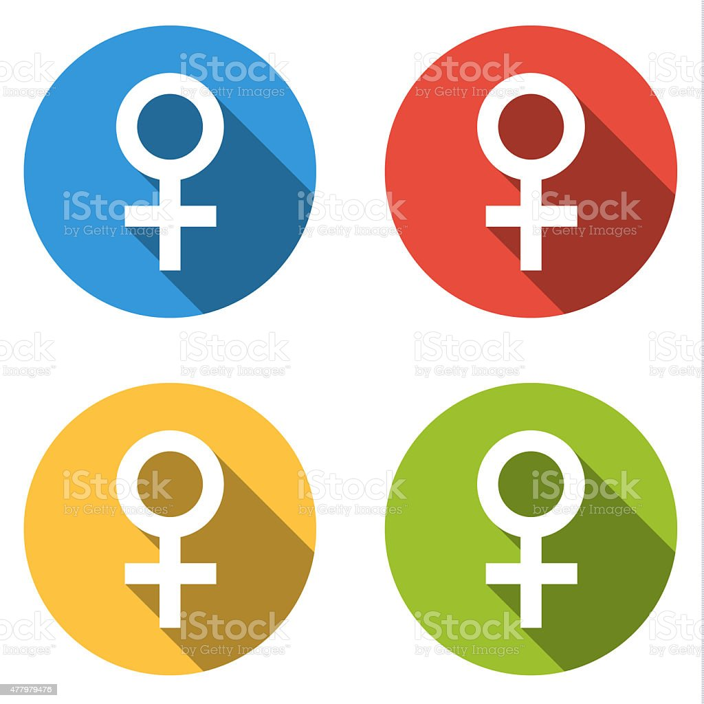 Collection of 4 isolated flat colorful buttons (icons) for femal vector art illustration