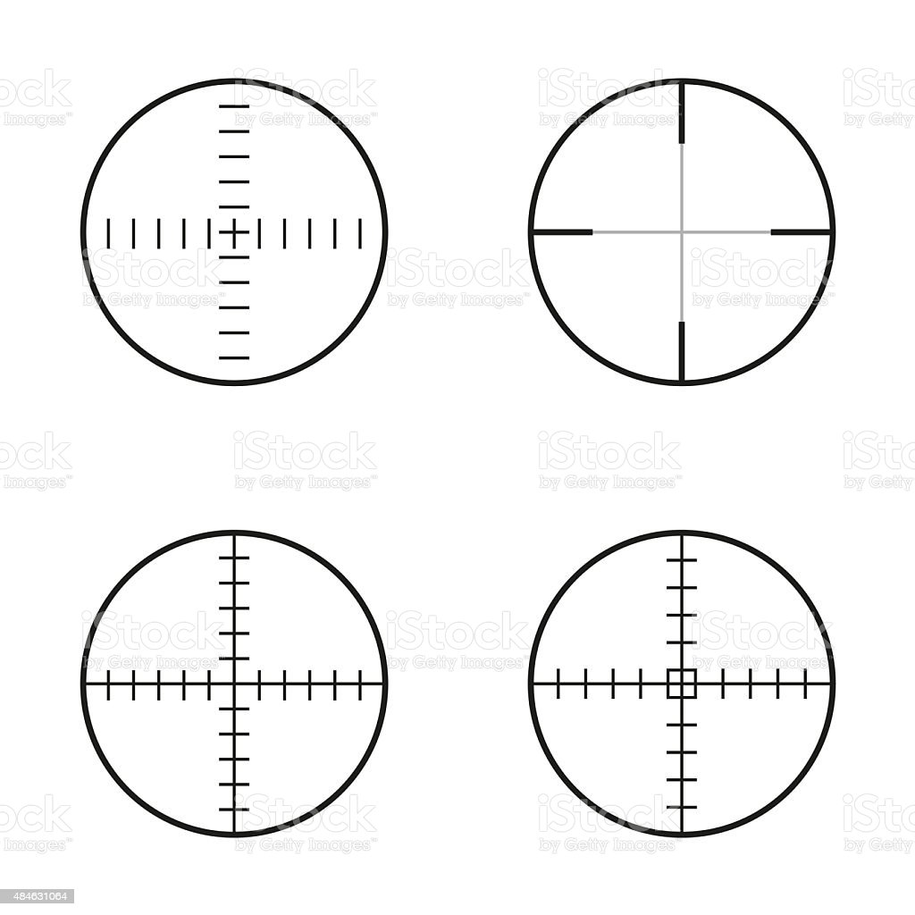 Collection of 4 isolated round crosshairs vector art illustration