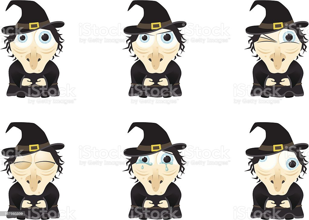 Collection of a big-eyed witch with different facial expressions vector art illustration