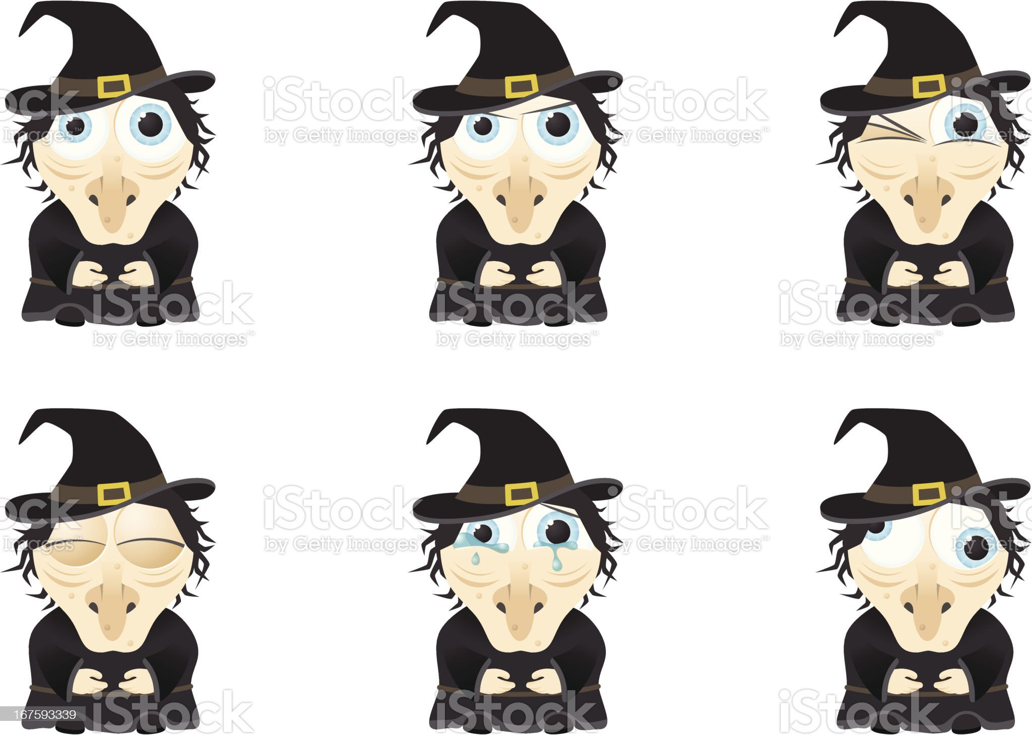 Collection of a big-eyed witch with different facial expressions royalty-free stock vector art