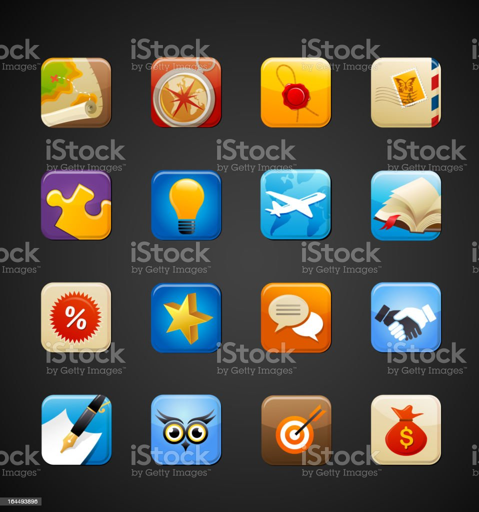 collection of apps icons royalty-free stock vector art