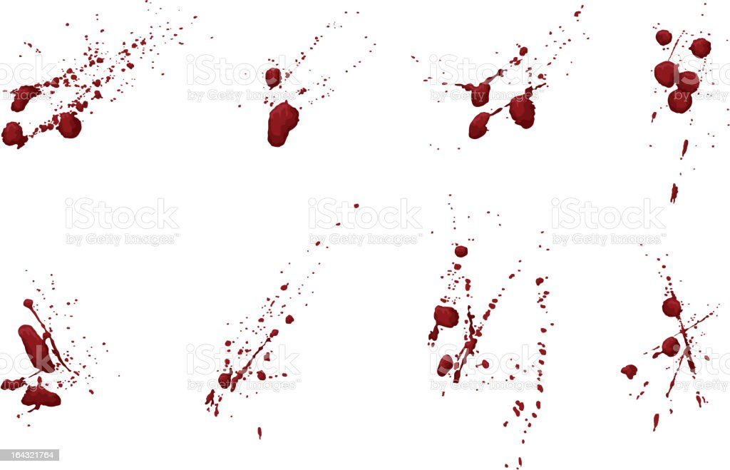 Collection of blood or paint splatters vector art illustration