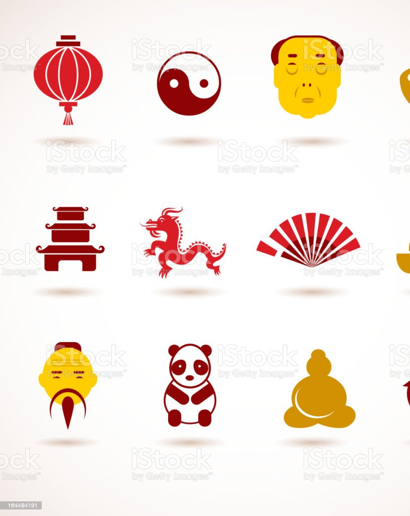 collection of China icons royalty-free stock vector art