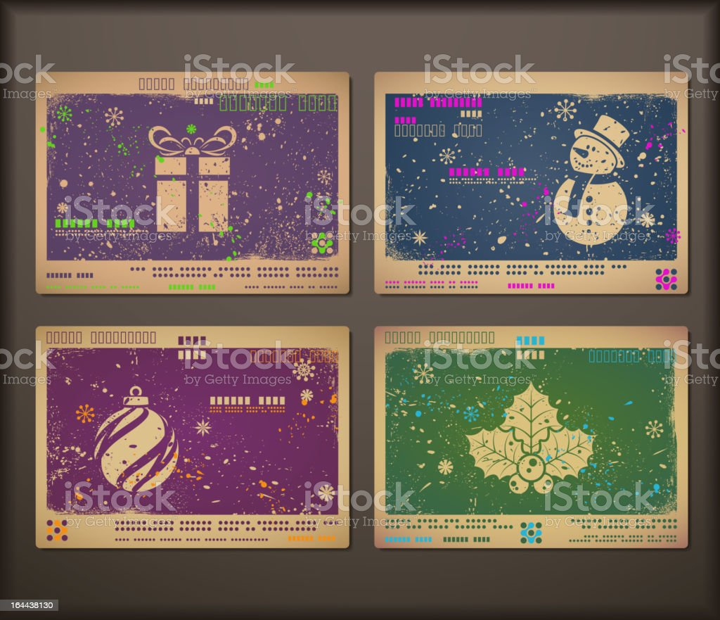 Collection of chipboard Christmas cards. royalty-free stock vector art