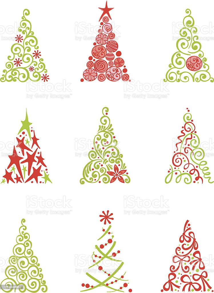 Collection of Christmas Trees royalty-free stock vector art