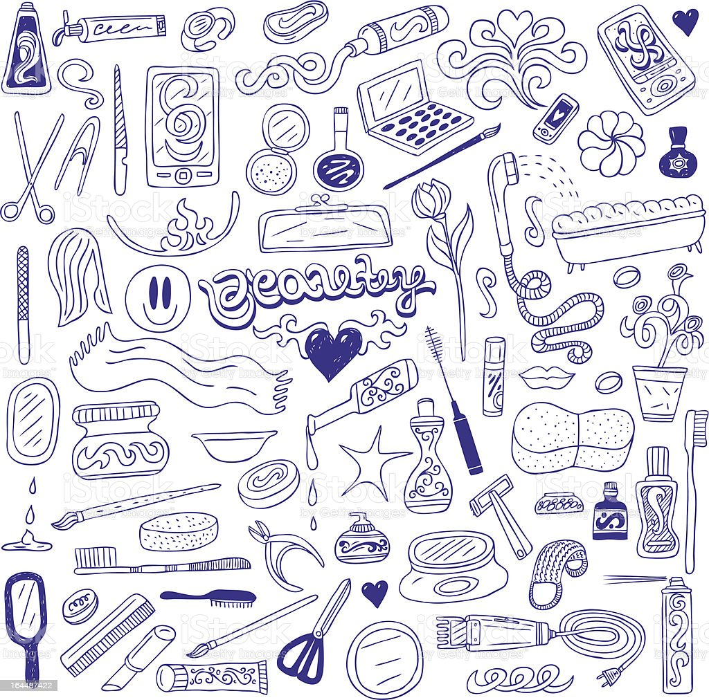 collection of cosmetics doodles royalty-free stock vector art