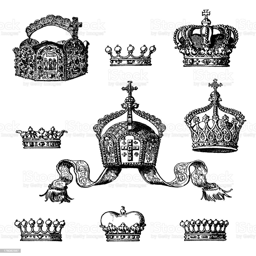 Collection of crowns royalty-free stock vector art