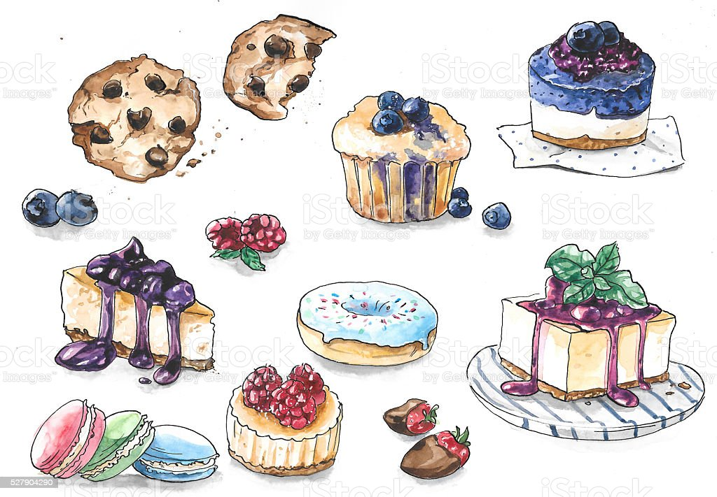 Collection of different cakes with berries and chocolate vector art illustration