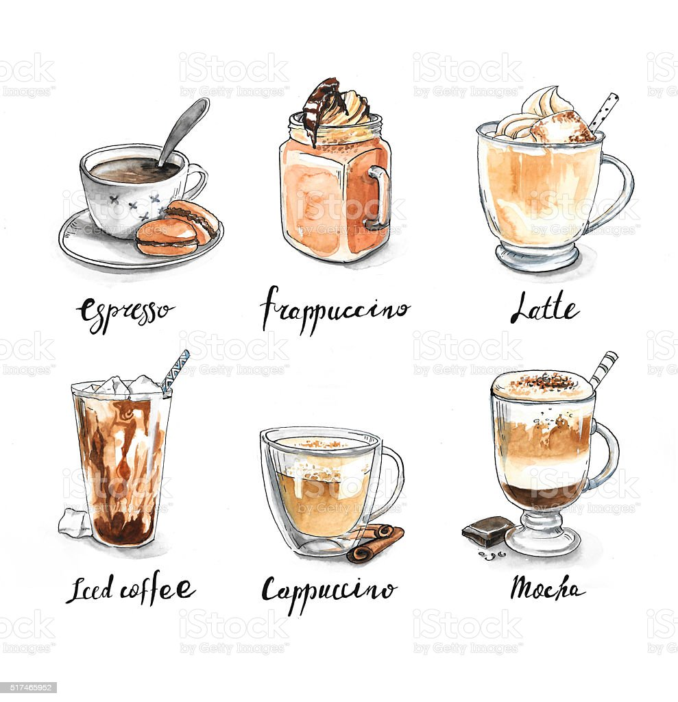 Collection of different coffee - espresso, frappuccino, latte vector art illustration