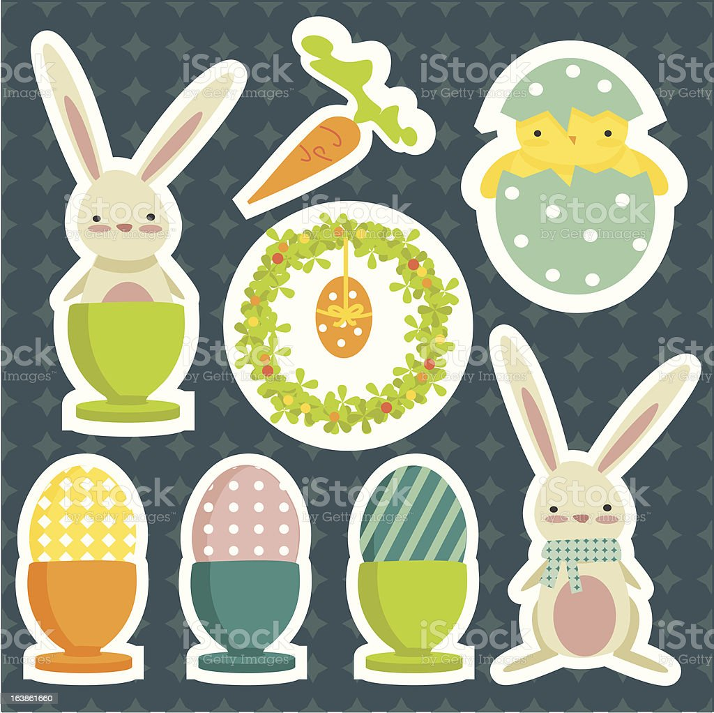 collection of easter theme stickers royalty-free stock vector art