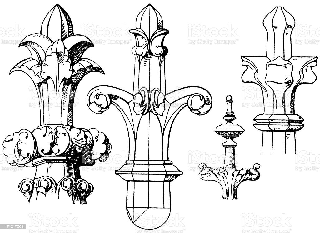 Collection of finials vector art illustration