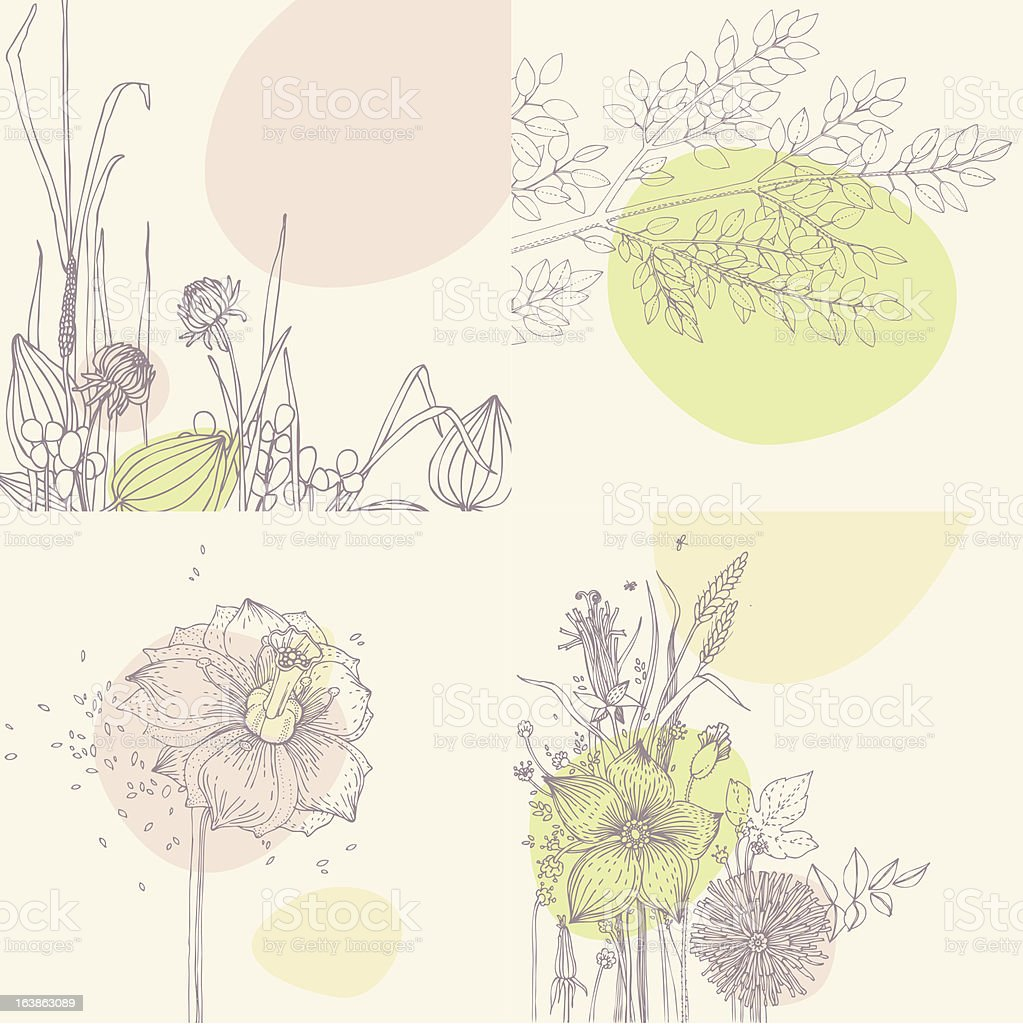 Collection of floral greeting cards royalty-free stock vector art