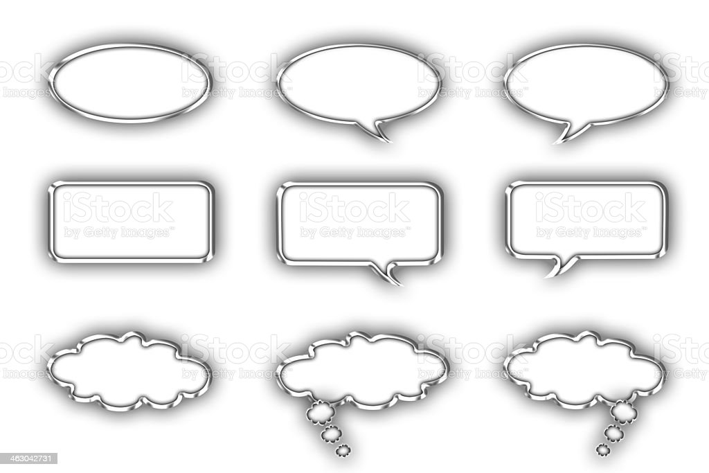 Collection of glossy speechand thought bubbles. royalty-free stock vector art