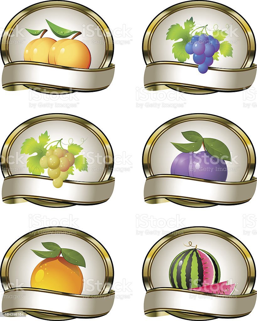 Collection of labels for fruit products royalty-free stock vector art