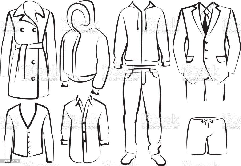 collection of men's clothes vector art illustration