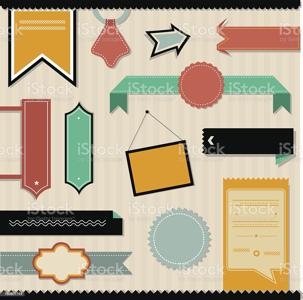 Collection of old-fashioned website elements royalty-free stock vector art