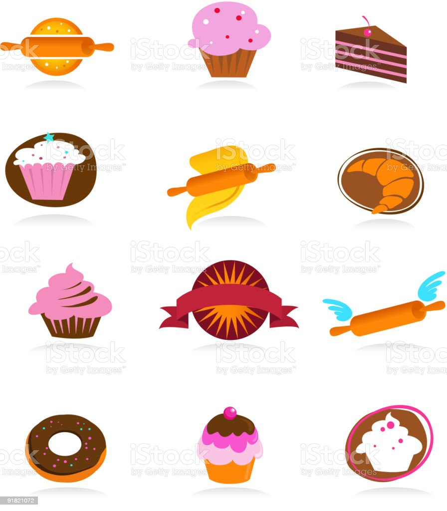collection of pastry and cakes icons royalty-free stock vector art
