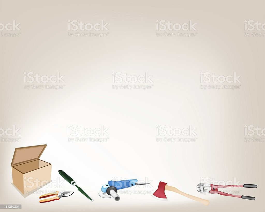 Collection of Various Craft Tools with Wooden Box royalty-free stock vector art