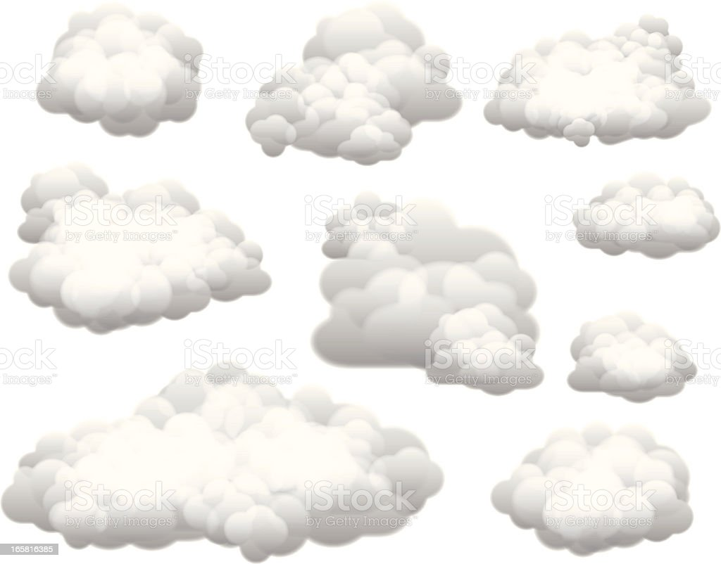 Collection of vector clouds on white background vector art illustration
