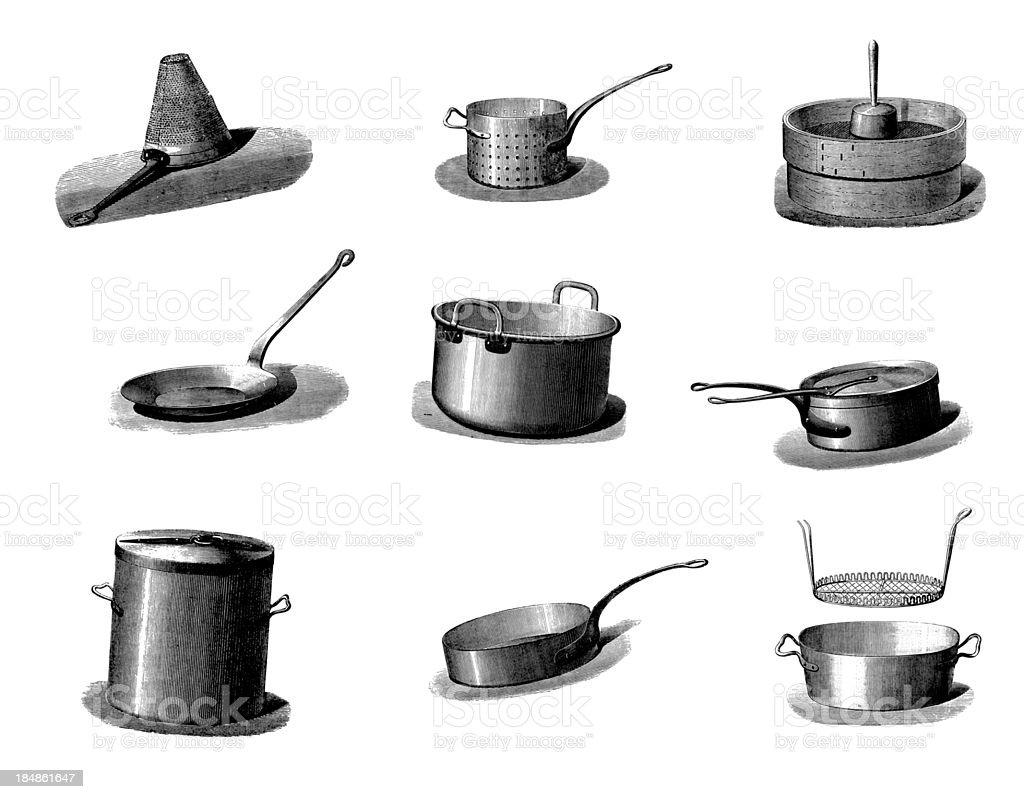 Vintage Kitchen Utensils Illustration collection of vintage cookware pans and kitchen utensil