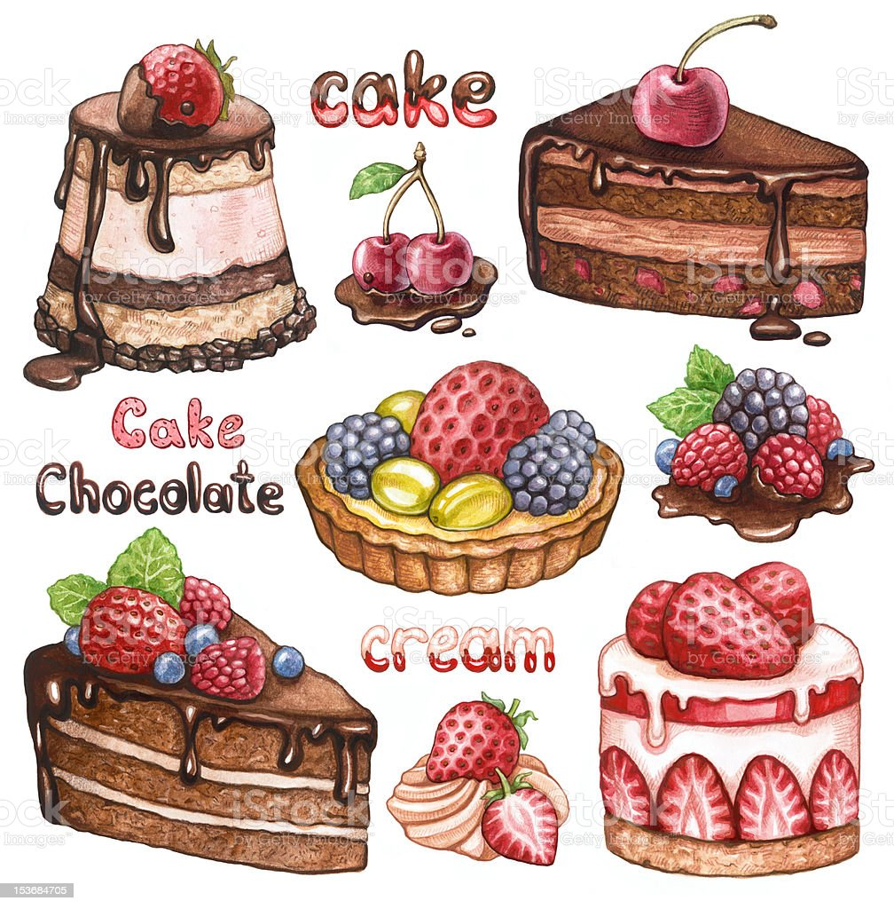 Collection of watercolor cakes royalty-free stock vector art