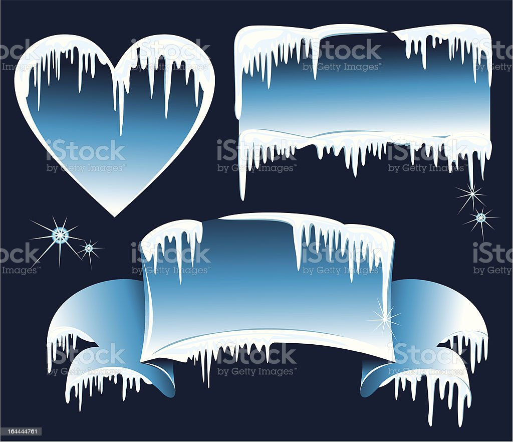 Collection of winter banners with icicles royalty-free stock vector art