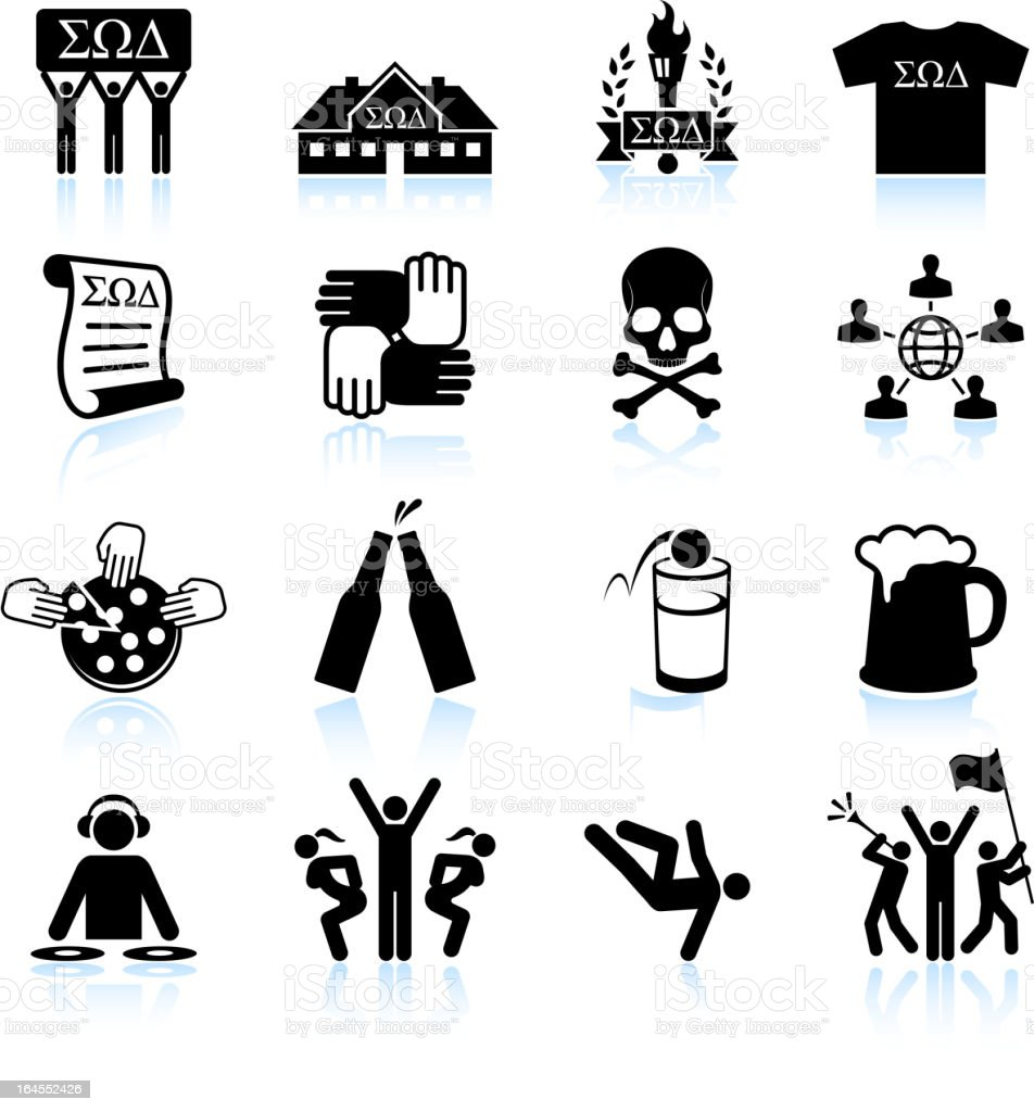 College fraternity Life black and white vector icon set vector art illustration